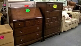 stag minstrel tallboy chest of drawers and stag writing bureau in nice condition