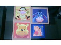 4 picture painting print rare disney winnie the pooh eeyore tigger job lot wooden framed texturised