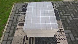 A New Designer Beige Tartan Fabric Material Footstool