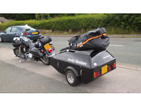 Watsonian Squire D18 SE Motorcycle Trailer in black with Harley Davidson decals.