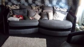Very large 4 seat sofa and 2 swivel chairs with puffe