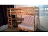 Pine High Sleeper Bunk Bed with Desk, Seat, Shelves & Mattress
