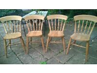 4 Traditional Farmhouse Beech Low Spindle Back Kitchen Dining Chairs