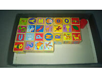 Very nice wooden blocks with letters and pictures