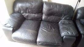 2 Seater Black Leather SOFA FREE TO COLLECT