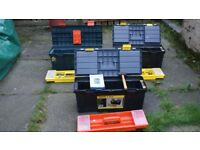 assortment of tools plus 3 stanley tool boxes