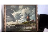 windmill oil painting by van kilzen..excellent painting in frame.aprox 50 yr old