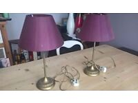 pair of table lamps, antiqued brass and deep purple