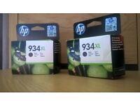2 HP 934XL black ink cartridges- in date.