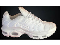 Brand New Nike Air Max PLUS TN TRIPPLE WHITE ALL WHITE size uk 6, 8 AND 10
