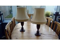 Traditional table lamps and silk shades