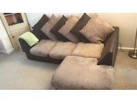 Good condition fabric/leather effect corner sofa