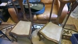 Set Queen Anne Chairs Solid wood Original Antique-