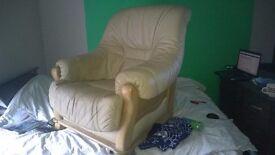 Lovely Cheap Armchair Cream Leather!!!