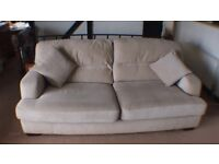 Atlanta 3 seater sofa in woven fabric ( parchment colour) - Smoke/Pet Free Home - 5 years old.