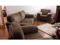 Three piece suite modern. Beige. Midbrown. £300 o.n.o