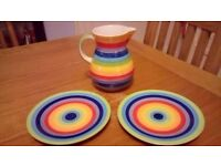 Beautiful namaste rainbow crockery - side pates and jug