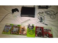 Xbox 360 black + 120 gb hard drive, games, charger, controllers, HDMI, remote