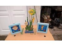 Fish wooden decorative frames and ornament