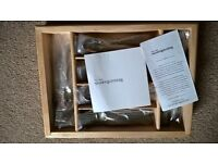 BRAND NEW 65 piece 18/10 stainless cutlery steel set in wooden tray - 12 place settings