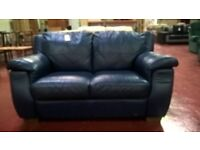 Blue leather 2 seater