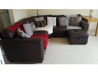 Brown leather corner sofa/settee