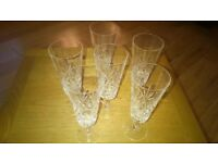 6 x Lead Crystal Champagne Flutes