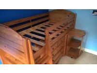 single wooden cabin bed with desk and drawers