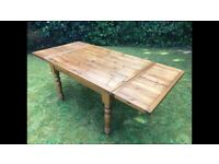 Reclaimed Pine Wood Dining/Kitchen Table - extendable ends. Excellent Condition