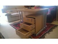 Office desk+pedestal+cupboard VGC - like new