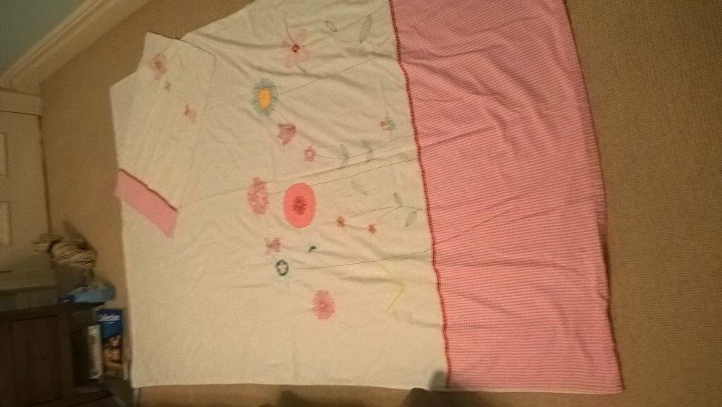 Single duvet cover and pillow case - girl/pink & white / flowers / fairies