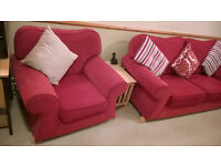 Red three piece suite, 3 seater sofa and pair of matching armchairs £250