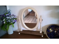 Solid pine dressing table mirror on stand - shabby chic