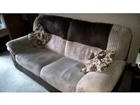 3 seater sofa, 2 x armchairs (1 electric recliner) and storage footstool