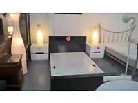 black gloss double bed frame also have white and black gloss bedsides available