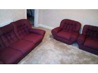 3 piece suite Purple Sofa 1970's Armchair Retro