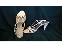 Stone colour, leather sandals with 3 inch heel. Size 39 (UK 5.5).