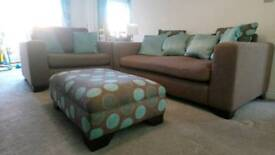 3 seat sofa and love chair with foot stall