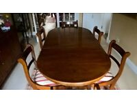 Reproduction dining room table, chairs and sideboard in mellow yew