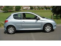 peugeot 206 3 dr 51000 mls 2006 reg s/hist new mot p/st a/cn e/w c/lock l/blue.cloth seats .