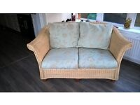 rattan wicker settee in excellent condition removable cushion covers