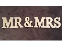 White wooden mr & Mrs