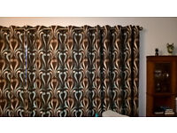 Large pair of lined Dunelm curtains, eyelet heading