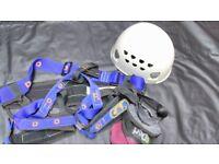 Climbing harness, helmet and chalk bag