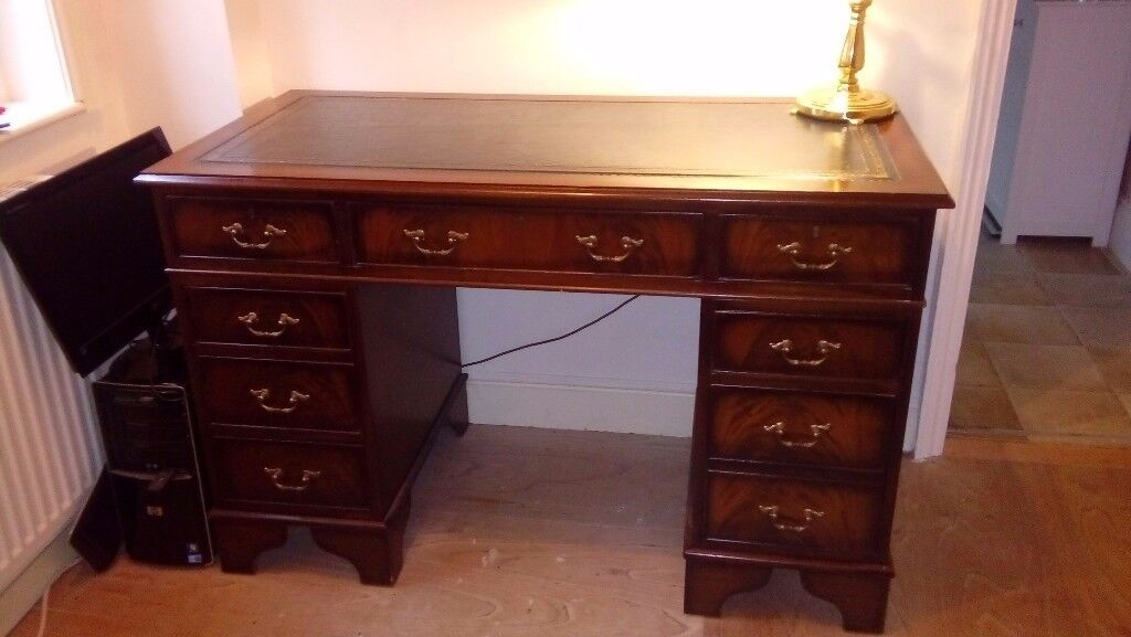Chesterfield Writing Desk Side Drawers And Bankers Lamp