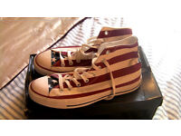 Converse American Flag High Top Canvas Trainers / Shoes Size 9