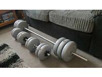 York 54kg Vinyl Barbell/Dumbells Weight Set