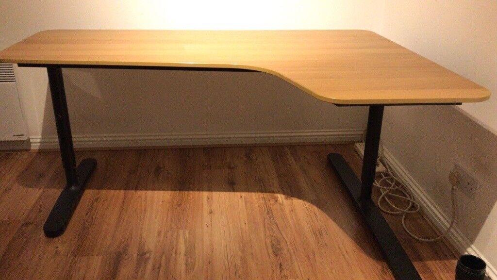 Ikea Bekant Corner Desk Oak Veneer Black 120 Ono Quick Needed