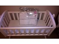 Swinging Crib with mattress and bedding included