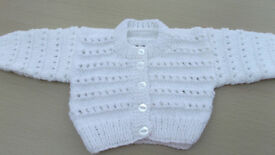White Baby's Hand Knitted Cardigan 0-3 months.